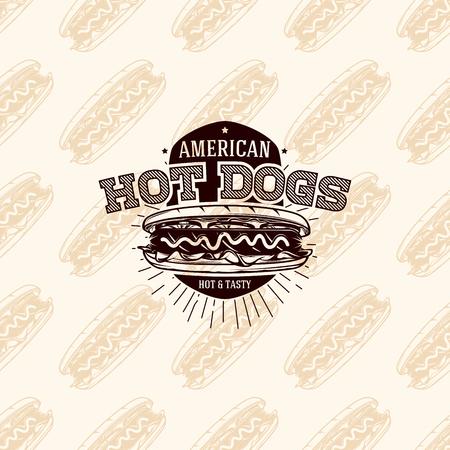 hot dog: American hot dogs logo on seamless pattern fast food, vector illustration Illustration