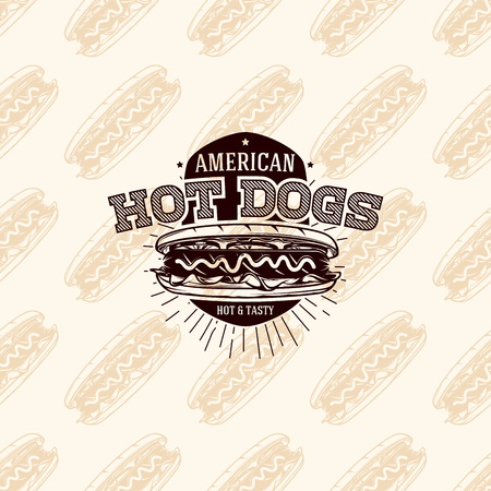 American hot dogs logo on seamless pattern fast food, vector illustration Illustration