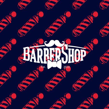 Barber shop logo on seamless pattern with barber poles, vector illustration