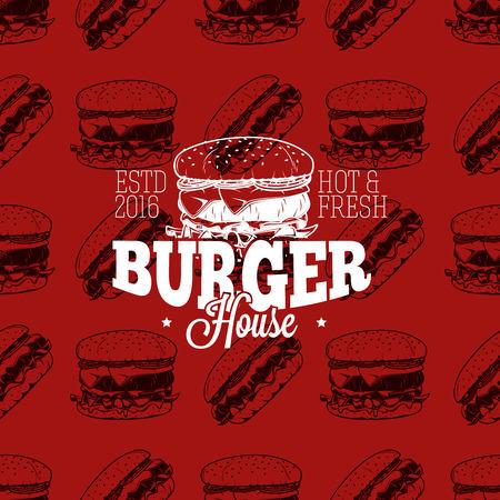 Burger huis logo op naadloos patroon fast food, vector illustratie Stock Illustratie