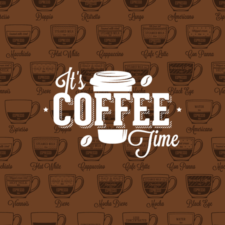 Coffe time logo on seamless pattern coffee style recipe, vector illustration