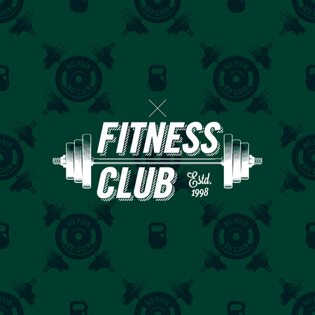 Fitness club logo on a seamless pattern with dumbbells, vector illustration