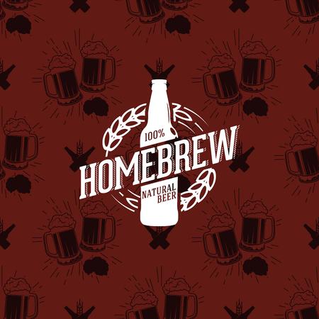 Homebrew logo on seamless pattern clinking glasses of beer, vector illustration Illustration