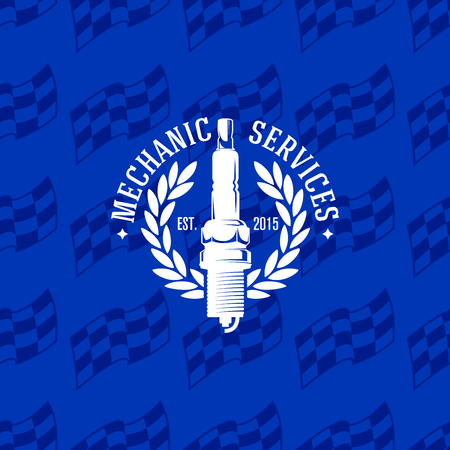 Mechanic service logo on a seamless pattern checkered flag, vector illustration