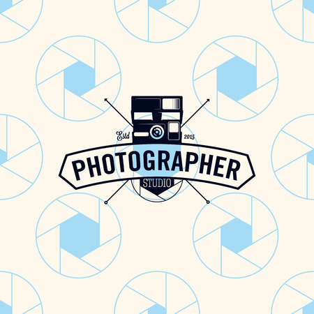 Photographer logo on a seamless pattern camera shutter, vector illustration