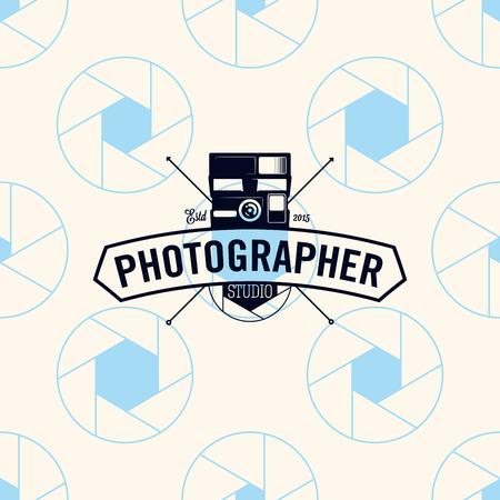 Photographer logo on a seamless pattern camera shutter, vector illustration