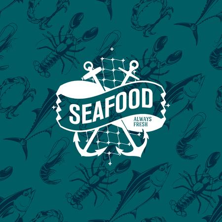 참치, 새우, 게와 새우, 벡터 일러스트와 함께 원활 하 게 패턴에 해산물 로고