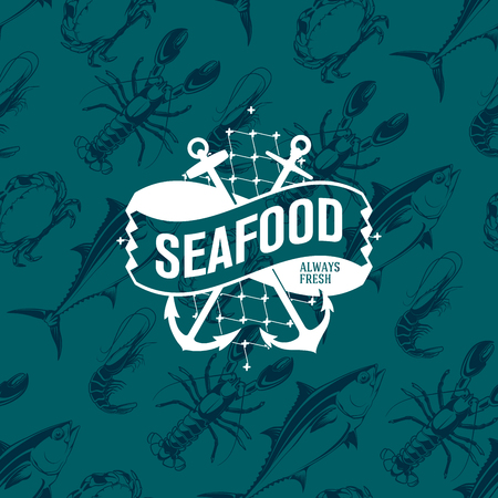 Seafood logo on a seamless pattern with tuna, shrimp, crab and lobster, vector illustration