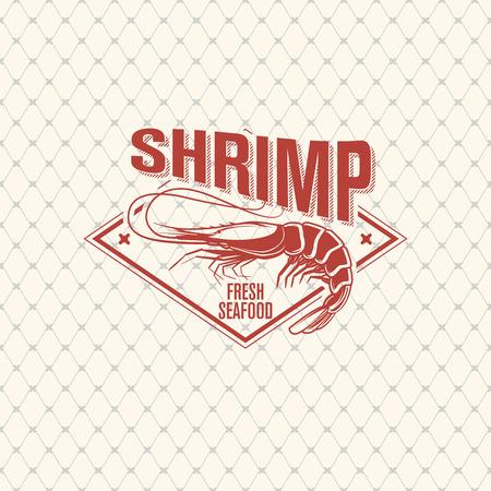 Shrimp logo on seamless pattern with fishing net, vector illustration