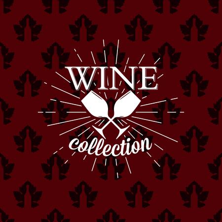 Wine collection logo on seamless pattern, vector illustration 向量圖像
