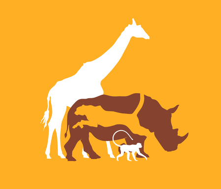 Silhouette animal of the African savanna, vector illustration