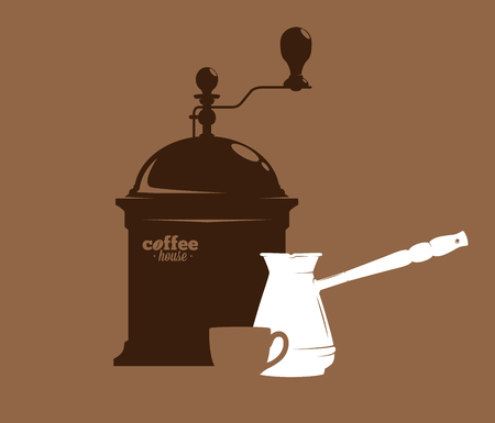 Silhouette of a coffee grinder, cezve and mug, coffee time, vector illustration