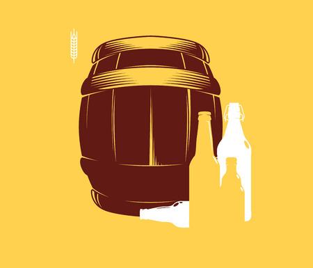 Silhouette of barrels and beer bottles, vector illustration
