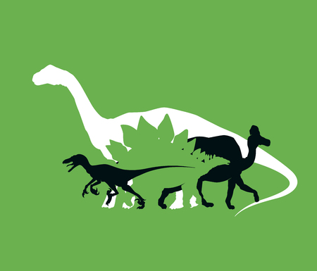 Silhouette of dinosaurs the Jurassic period, overlapping layers, vector illustration Ilustração
