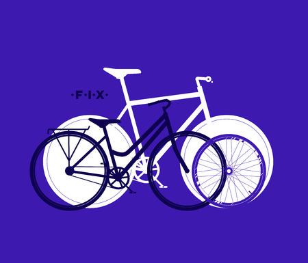 Silhouet van fix fiets, fietsen sport achtergrond, vector illustratie