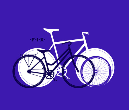 Silhouette of fix bike, cycling sport background, vector illustration Illustration