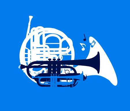Silhouette d'instruments à vent musicaux, carte de festival de jazz, illustration vectorielle Vecteurs