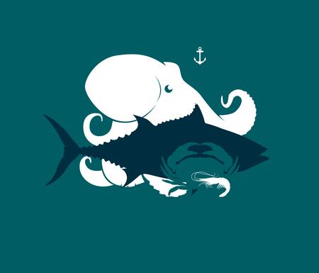 魚介類タコ、マグロ、カニ、エビ、ベクトル イラストのシルエット