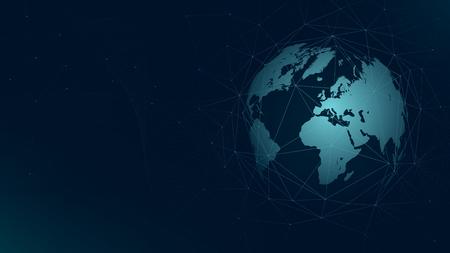 世界地図グローバルネットワーク接続、技術未来的な神経叢ベクトルの背景。