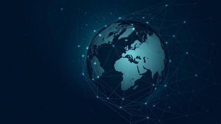 世界地図グローバルネットワーク接続、ベクトルバックグラウンド技術未来神経叢。  イラスト・ベクター素材