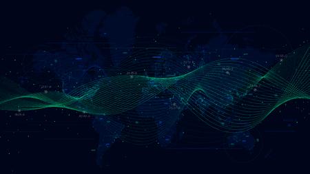 Abstrait vectoriel avec des vagues dynamiques, visualisation de données volumineuses avec une carte du monde.