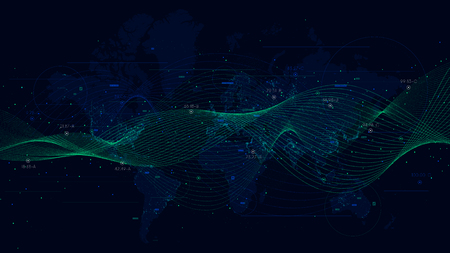 Abstract vector background with dynamic waves, big data visualization with a world map.