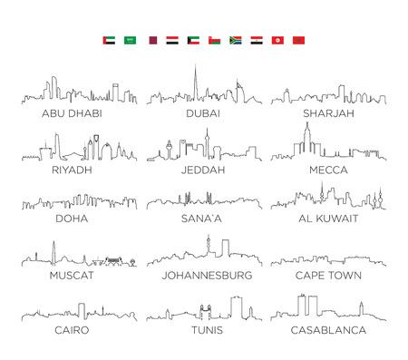 アラビア半島とアフリカのスカイライン都市ラインアート、ベクターイラストデザイン