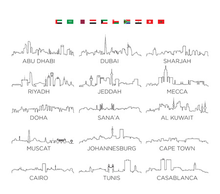 Arabian Peninsula and Africa skyline city line art, vector Illustration design Stok Fotoğraf - 95595287
