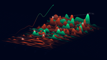 Business analytics and financial technology concept, Vector statistics data 3D visualization. Vettoriali