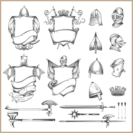 Collection of vector heraldic elements, helmets and medieval weapons Stock Illustratie