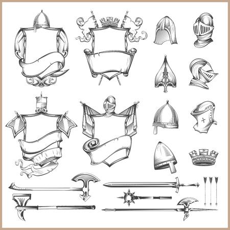 Sammlung heraldische Vektorelemente, Sturzhelme und mittelalterliche Waffen Vektorgrafik