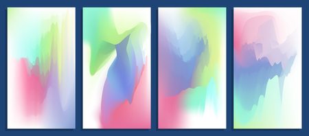 Colorful abstract vibrant blurred holographic gradients vector backgrounds set