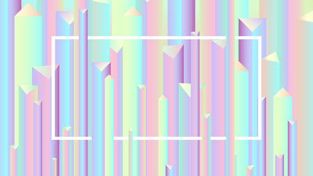 Colorful abstract vivid holographic style gradients backgrounds, vector pyramid pattern