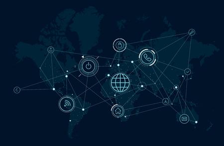 Communications network of the world, data process activity, wireless technologies Illustration