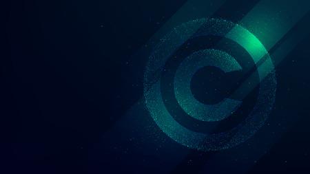 Symbol praw autorskich, ochrona własności intelektualnej, ilustracja technologii przyszłości