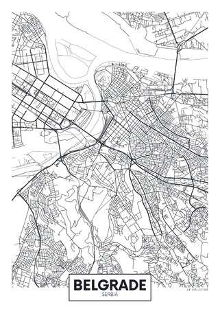 Detailed vector poster city map Imagens - 95591857