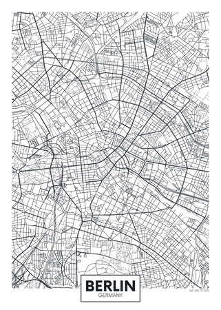 Detailed vector poster city map Berlin Çizim
