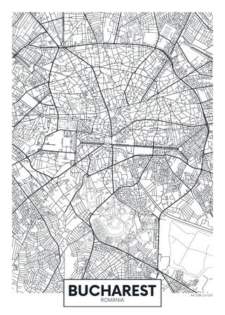 Detailed vector poster city map Bucharest Vettoriali