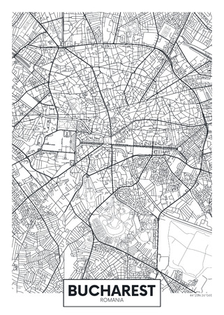 Detailed vector poster city map Bucharest Vectores