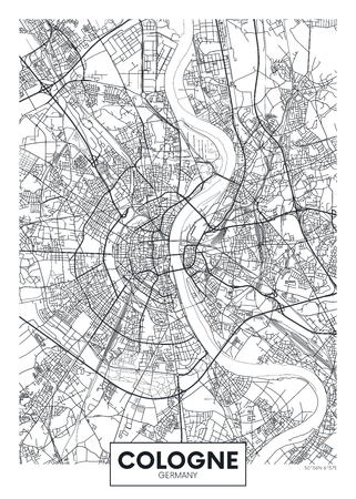 Detailed vector poster city map Cologne Illustration