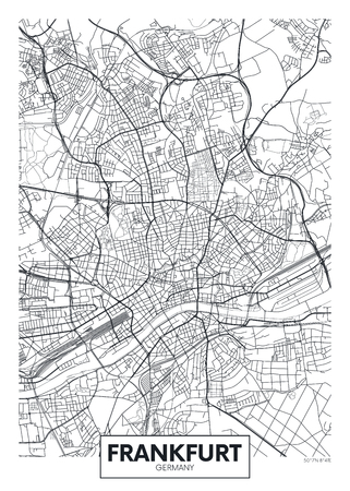Detailed vector poster city map Frankfurt Vettoriali