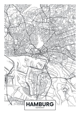 詳細ベクターポスター都市マップ ハンブルク  イラスト・ベクター素材