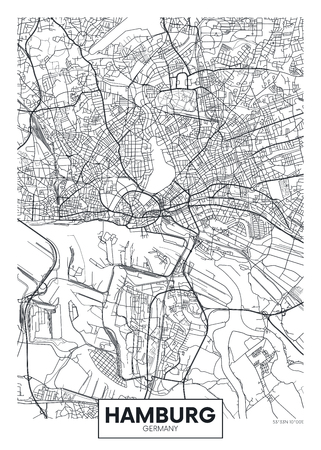 Detailed vector poster city map Hamburg