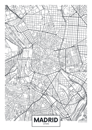 Detailed vector poster city map Madrid Çizim