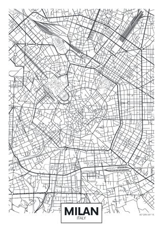 Szczegółowa mapa miasta plakat wektor Mediolan