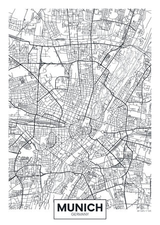 Detailed vector poster city map Munich