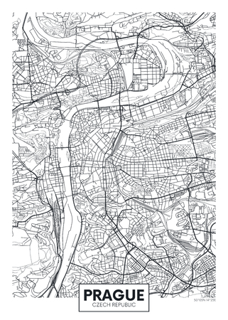 Detailed vector poster city map Prague Çizim