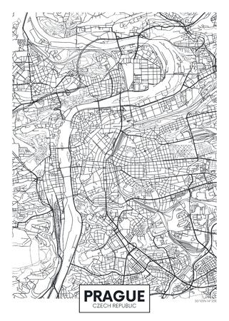 Mappa dettagliata della città del manifesto di vettore Praga Archivio Fotografico - 95592507