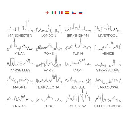 Grafika liniowa miasta panoramę Europy, projekt ilustracji wektorowych, zestaw 2 Ilustracje wektorowe