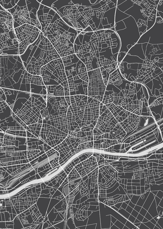 Frankfurt am Main city plan, detailed vector map 일러스트